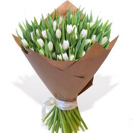 Букет из 50 Белых Тюльпанов в Крафте