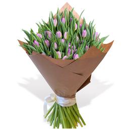 Букет из 50 Сиреневых Пионовидных Тюльпанов в Крафте