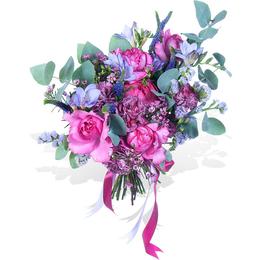 Букет из Ароматной розы, Фрезии, Вероники и Эвкалипта