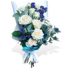 Букет из Белой розы, Эрингиума и Статицы