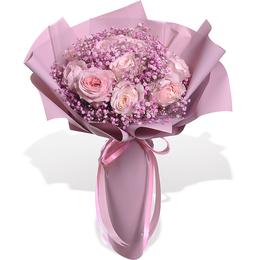 Букет из пионовидных розовых роз и гипсофилы ПЛАНЕТА ЦВЕТОВ
