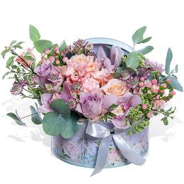 Роза и Орхидея в Шляпной коробке с Эустомой