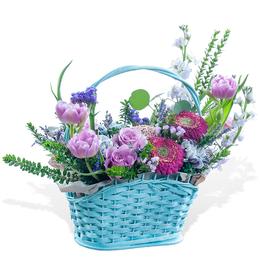 Корзина из Сиреневых роз, Тюльпанов и Герберы