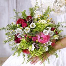 Свадебный Букет Невесты из Ранункулюсов, Розы Кустовой, Кампанулы, Эустомы