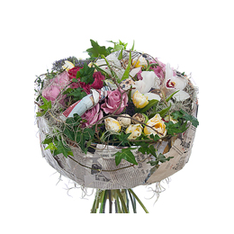 Пасхальный Букет из Роз, Орхидей, Ранункулюсов, Тюльпанов