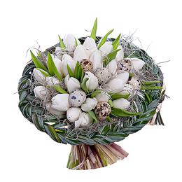 Пасхальный Букет из Белых Тюльпанов