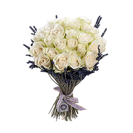 Букет из 25 Роз и Лаванды, лента, ярлычок