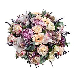 Букет из Пионов, Орхидеи, Герберы, Розы, Розы кустовая