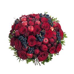 Букет из Розы, Розы Пионовидной, Винограда, Яблок, Фисташки