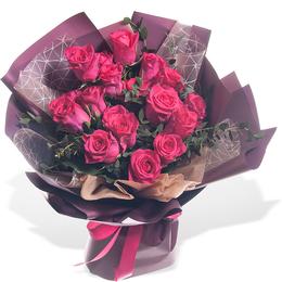 Букет из 39 розовых роз с Плющем