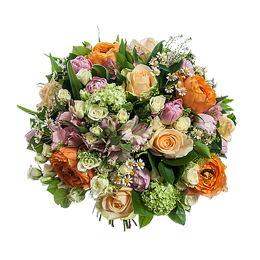 Букет из Роз, Роз Садовых, Роз Кустовых, Тюльпанов, Альстромерии