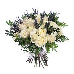 Букет из 35 Белых Роз, Лаванды