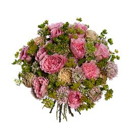 Букет из Садовых Роз Микс, Ранункулюсов, Буплерума