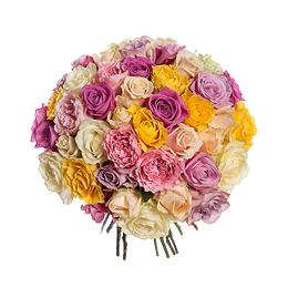 Букет из 42 Роз Микс и 5 Садовых Роз