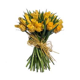 Букет из Желтой Розы и Желтых Тюльпанов