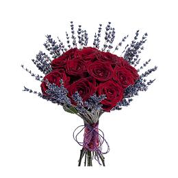 Букет из 13 Бордовых Роз и Лаванды