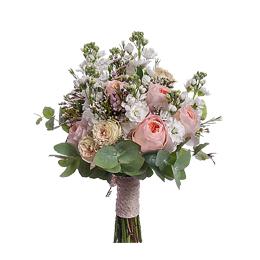 Букет из Садовых Роз, Кустовых Роз, Матиолы, Ваксфлора, Лимониума, Эвкалипта