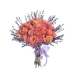 Букет из 41 Персиковой Розы и Лаванды