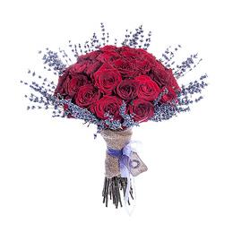 Букет из 41 Бордовой Розы и Лаванды