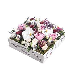 Композиция из Орхидеи Фаленопсис, Пионовидной Розы, Каллы, Гортензии, Тюльпанов