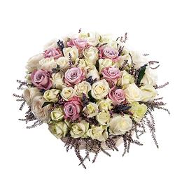 Корзина из Белых Роз, Сиреневых Роз, Вереска, Лаванды