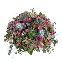 Корзина из Роз, Орхидеи Цимбидиум, Гортензии