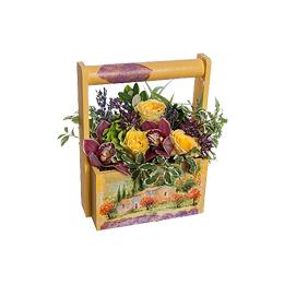 Корзина из Желтых Роз, Орхидеи Цимбидиум, Гортензии, Лаванды, Астрантии