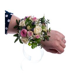 Браслет на руку из Кустовых Роз, Лаванды, Гипсофилы