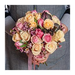 Свадебный Букет Невесты из Розы, Кустовой Розы, Тюльпанов, Листьев Бегонии