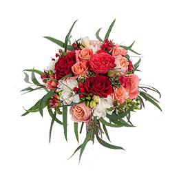 Свадебный Букет Невесты из Розы, Садовой Розы, Фрезии, Гиперикума