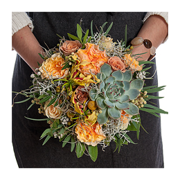 Свадебный Букет Невесты из Розы, Садовой Розы, Эхеверии, Брунии, Глориозы
