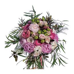 Свадебный Букет Невесты из Розовых Пионов, Ранункулюсов, Розы Садовой, Розы Кустовой
