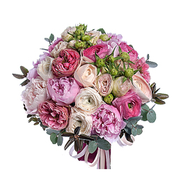 Свадебный Букет Невесты из Розовых Пионов, Ранункулюсов, Розы Кустовой, Розы садовой