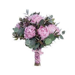 Свадебный Букет Невесты из Розовых Пионов, Эвкалипта, Багульника