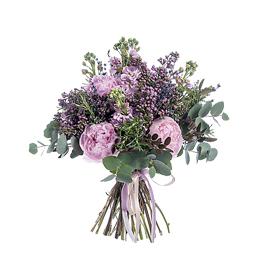 Свадебный Букет Невесты из Розовых Пионов, Матиолы, Сирени, Лаванды