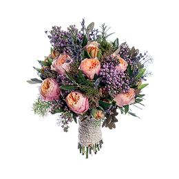 Свадебный Букет Невесты из Садовой розы, Сирени, Тюльпанов, Лаванды