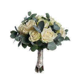 Свадебный Букет Невесты из Белой Розы, Эвкалипта