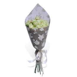 Букет из Белой Розы и Кустовой Пионовидной Розы