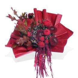 Букет из Красной Садовой Розы, Гортензии, Герберы, Амаранта и Куэркуса