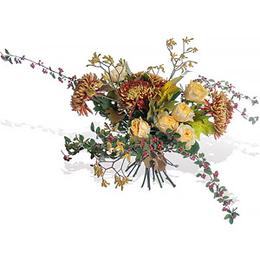 Букет из Хризантем, Садовой Розы, Анигозатуса и Ветки Кизильника с Ягодами