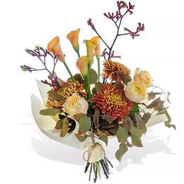 Букет из Хризантем, Садовой Розы, Анигозатуса и Калл