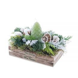 Новогодняя композиция со Свечей, Шишками, Хлопком в малом деревянном Лотке