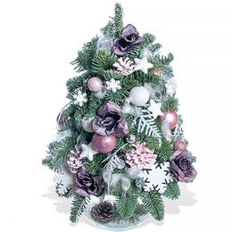 Новогодняя Елочка из Живой Хвои и Розовыми Шишками на Стеклянном Шаре