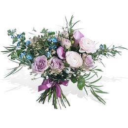 Букет из Сиреневых роз, Ранункулюсов, Каллы и Эвкалипта ПЛАНЕТА ЦВЕТОВ