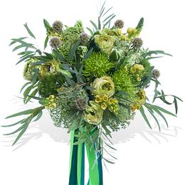 Букет из Пионовидной Желто-Зеленой Розы, Хризантемы, Орнитогалума и Эвкалипта