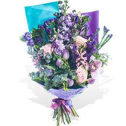 Букет из Розы, Маттиолы, Тюльпанов, Гиацинтов и Орхидеи