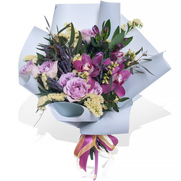 Букет из Роз, Орхидеи, Лаванды и Эвкалипта ПЛАНЕТА ЦВЕТОВ