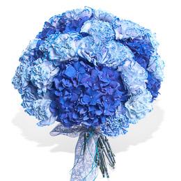 Букет из Синей Гортензии и Голубых Гвоздик Москва