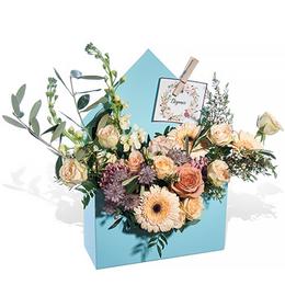 Цветы в Конверте Розы, Гербера, Маттиола и Гвоздика салон Планета цветов