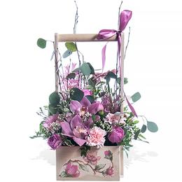 Корзина из Кустовой Пионовидной Розы, Орхидеи, Герберы и Гвоздики